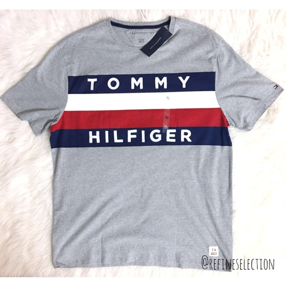 980206758 Tommy Hilfiger Shirts | Spell Out Large Flag Logo Tshirt | Poshmark